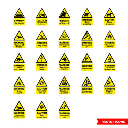 Farm safety hazard signs icon set of color types. Isolated vector sign symbols.Icon pack.