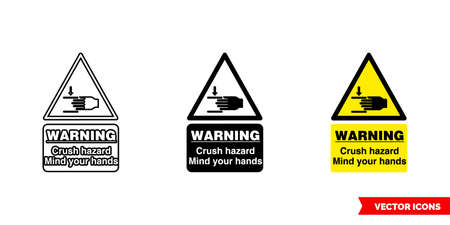 Warning crush hazard mind your hands hazard sign icon of 3 types color, black and white, outline.Isolated vector sign symbol.