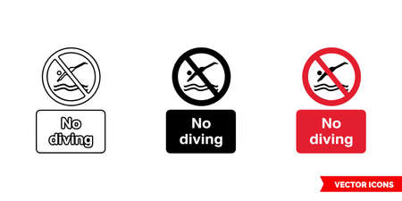 No diving prohibitory sign icon of 3 types color, black and white, outline.Isolated vector sign symbol.