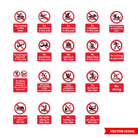 Water safety prohibitory signs icon set of color types. Isolated vector sign symbols.Icon pack.