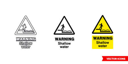 Warning shallow water hazard sign icon of 3 types color, black and white, outline.Isolated vector sign symbol.