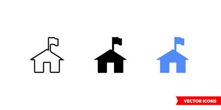 symbol ranger station icon of 3 types color, black and white, outline.Isolated vector sign symbol.