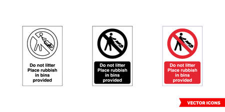 Prohibitory sign do not litter place rubbish in bins provided icon of 3 types color, black and white, outline.Isolated vector sign symbol.