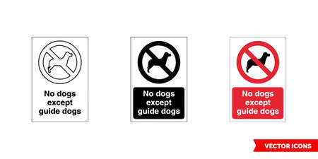Prohibitory sign no dogs except guide dogs icon of 3 types color, black and white, outline.Isolated vector sign symbol.