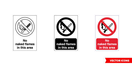 Prohibitory sign no flames in this area icon of 3 types color, black and white, outline.Isolated vector sign symbol.