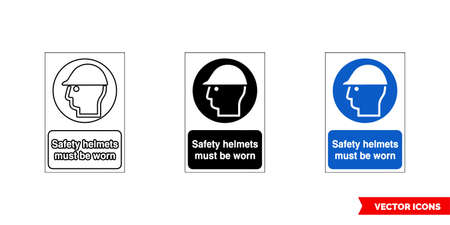 Mandatory signs safety helmets must be worn icon of 3 types color, black and white, outline. Isolated vector sign symbol.