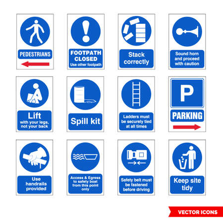 Construction mandatory signs icon set of color types. Isolated vector sign symbols. Icon pack.