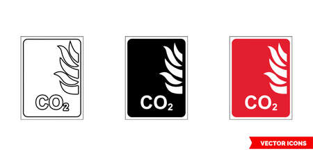 Fire fighting sign CO2 icon of 3 types color, black and white, outline. Isolated vector sign symbol.