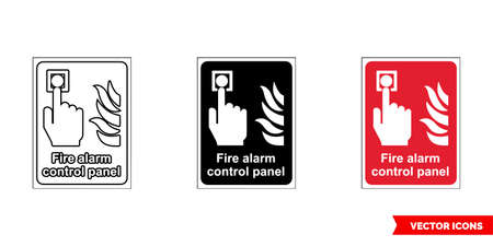 Fire fighting sign fire alarm control panel icon of 3 types color, black and white, outline. Isolated vector sign symbol. Vettoriali