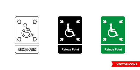 Emergency escape sign refuge point icon of 3 types color, black and white, outline. Isolated vector sign symbol.