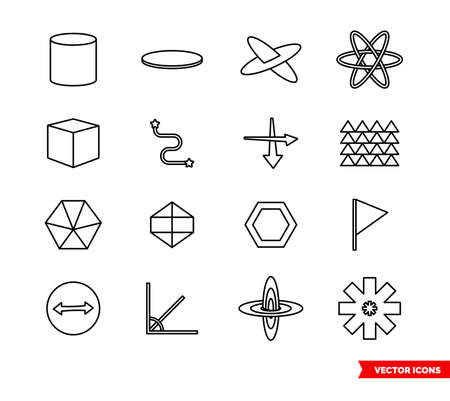Geometry icon set of outline types. Isolated vector sign symbols. Icon pack.