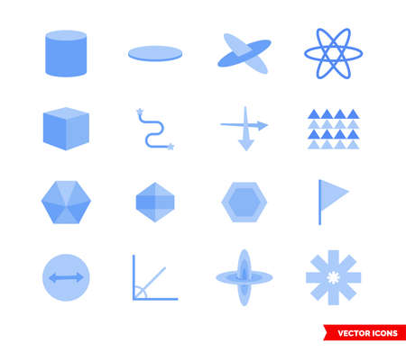 Geometry icon set of color types. Isolated vector sign symbols. Icon pack.