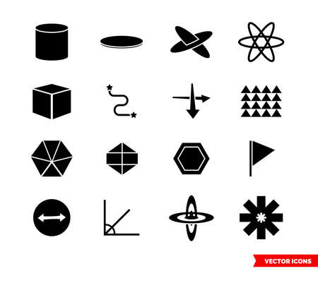 Geometry icon set of black and white types. Isolated vector sign symbols. Icon pack.