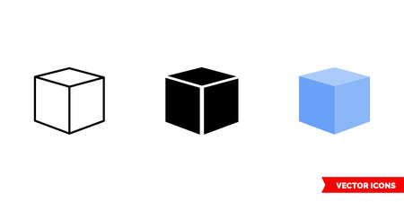 3D cube icon of 3 types color, black and white, outline. Isolated vector sign symbol.