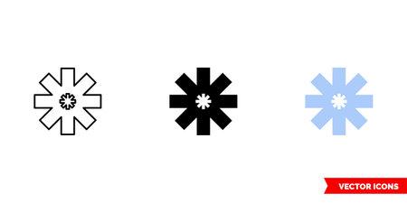 Asterisk symbol icon of 3 types color, black and white, outline. Isolated vector sign symbol. Ilustração