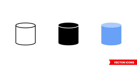 Cylinder icon of 3 types color, black and white, outline. Isolated vector sign symbol.