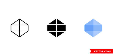 Icosahedron icon of 3 types color, black and white, outline. Isolated vector sign symbol. Иллюстрация