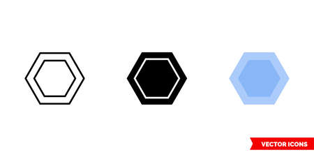 Hexagon icon of 3 types color, black and white, outline. Isolated vector sign symbol. Иллюстрация