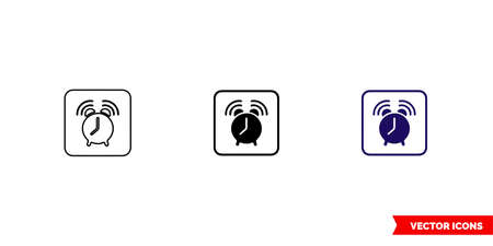 Alarm clock icon of 3 types color, black and white, outline.Isolated vector sign symbol.