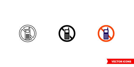 No call icon of 3 types color, black and white, outline.Isolated vector sign symbol.