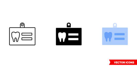 Dental diagnostic card icon of 3 types color, black and white, outline.Isolated vector sign symbol.  イラスト・ベクター素材
