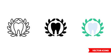 Tooth and laurel wreath icon of 3 types color, black and white, outline.Isolated vector sign symbol.