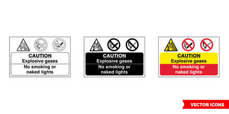 Caution explosive gases no smoking or lights fire prevention and explosive hazard sign icon of 3 types color, black and white, outline.Isolated vector sign symbol.