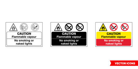 Caution flammable vapor no smoking or lights fire prevention and explosive hazard sign icon of 3 types color, black and white, outline.Isolated vector sign symbol.