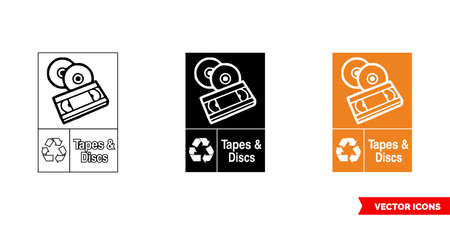 Tapes and discs waste recycling sign icon of 3 types color, black and white, outline.Isolated vector sign symbol.