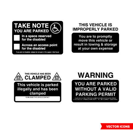 Parking offender adhesives signs icon set of black and white types. Isolated vector sign symbols.Icon pack.