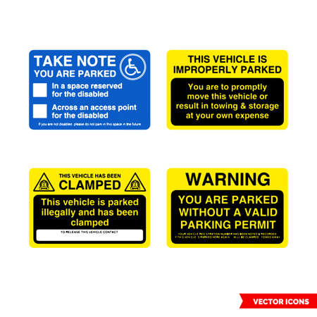 Parking offender adhesives signs icon set of color types. Isolated vector sign symbols.Icon pack.