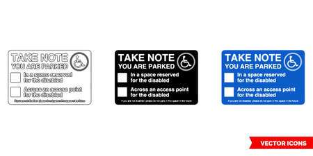 Take note you are parked parking offender adhesives sign icon of 3 types color, black and white, outline.Isolated vector sign symbol.