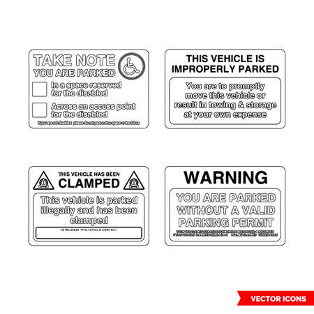 Parking offender adhesives signs icon set of outline types. Isolated vector sign symbols.Icon pack. 일러스트