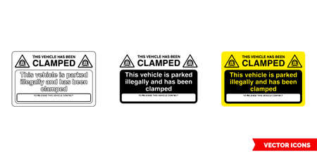 This vehicle is parked illegally and has been clamped parking offender adhesives sign icon of 3 types color, black and white, outline.Isolated vector sign symbol.