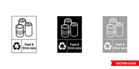 Food and drink cans metal recycling sign icon of 3 types color, black and white, outline.Isolated vector sign symbol.
