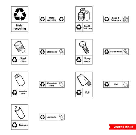 Metal recycling signs icon set of outline types. Isolated vector sign symbols.Icon pack. Ilustracja