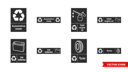 Automotive recycling signs icon set of color types. Isolated vector sign symbols.Icon pack.
