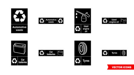 Automotive recycling signs icon set of black and white types. Isolated vector sign symbols.Icon pack.