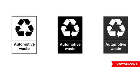 Automotive waste recycling sign icon of 3 types color, black and white, outline.Isolated vector sign symbol.