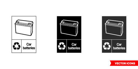 Car batteries automotive recycling sign icon of 3 types color, black and white, outline.Isolated vector sign symbol. 일러스트