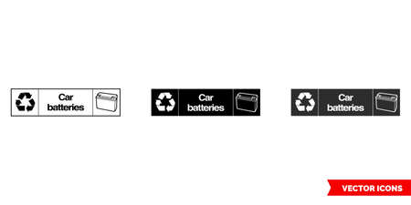 Car batteries landscape automotive recycling sign icon of 3 types color, black and white, outline.Isolated vector sign symbol.