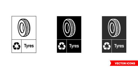 Tires automotive recycling sign icon of 3 types color, black and white, outline.Isolated vector sign symbol. Illustration