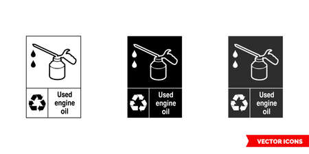 Used engine oil automotive recycling sign icon of 3 types color, black and white, outline.Isolated vector sign symbol.