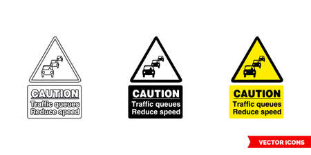 Caution traffic queues reduce speed warning sign icon of 3 types color, black and white, outline.Isolated vector sign symbol.