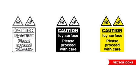 Drivers caution icy surface please proceed with care warning sign icon of 3 types color, black and white, outline.Isolated vector sign symbol. Vektorgrafik