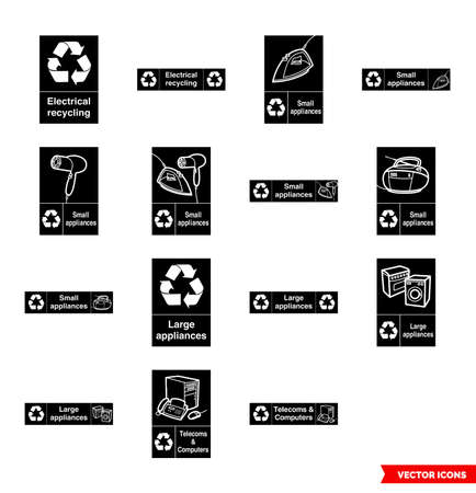 Electrical recycling signs icon set of black and white types. Isolated vector sign symbols.Icon pack.