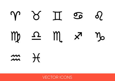 Zodiac signs icon set of black and white types. Isolated vector sign symbols.Icon pack.