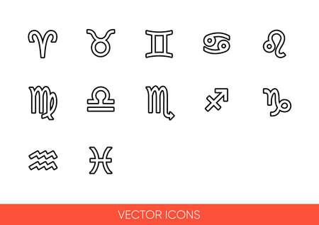 Zodiac signs icon set of outline types.Isolated vector sign symbols. Icon pack.