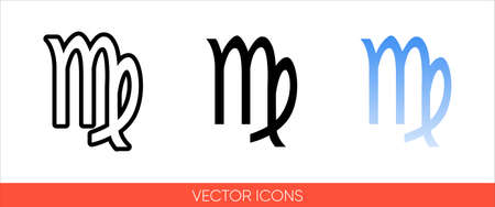 Zodiac sign virgo from August to September icon of 3 types color, black and white, outline.Isolated vector sign symbol.