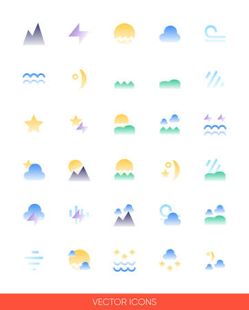 Weather icon set of color types. Isolated vector sign symbols.Icon pack.